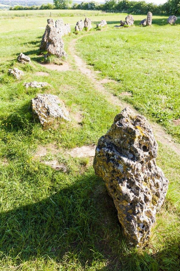 King& x27; & x27; s mężczyzn kamienia okrąg, Oxfordshire, Anglia fotografia royalty free