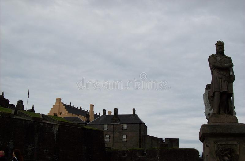 King`s statue in front of the stirling castle stock photography