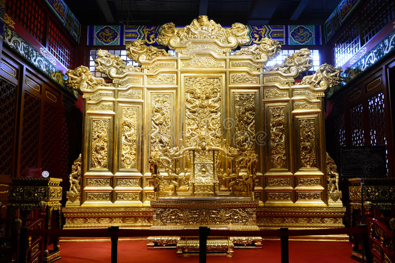 King's Throne. This picture shows a golden throne of Chinese Kings. It is common in Qing or Ming dynasty. But this one is a copy, not a real one stock image