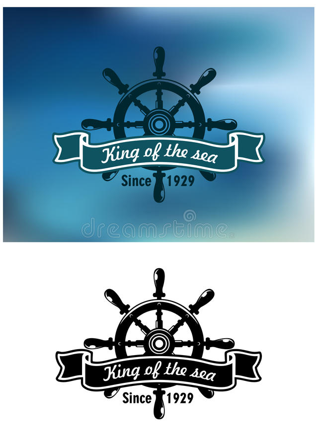King Of The Sea marine emblem or badge royalty free illustration