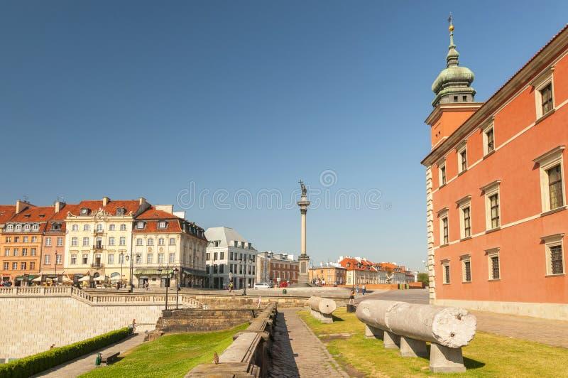 King Sigismund III Vasa column and Royal Castle, Old Town, Warsaw, Poland. royalty free stock photo
