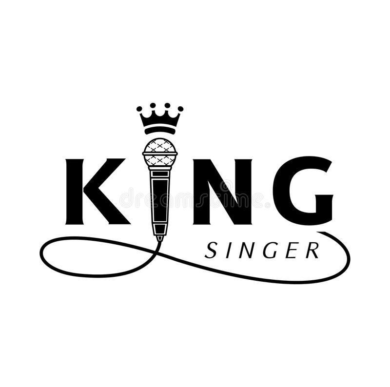 King singer logo with microphone. King singer logo design with microphone and crown vector illustration