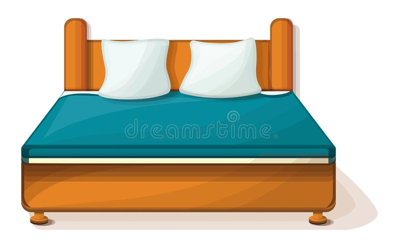 King size bed icon, cartoon style vector illustration