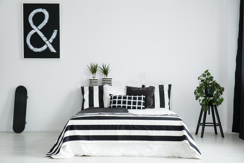 King-size bed between skateboard and plant. On wooden stool in simple black and white bedroom stock photography