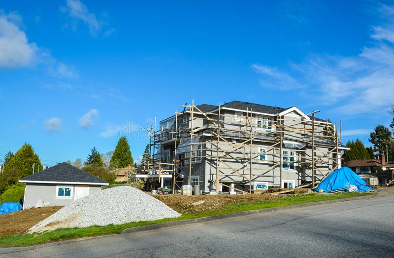 King size residential house under constraction. King size residential house under constraction in Canada stock photo