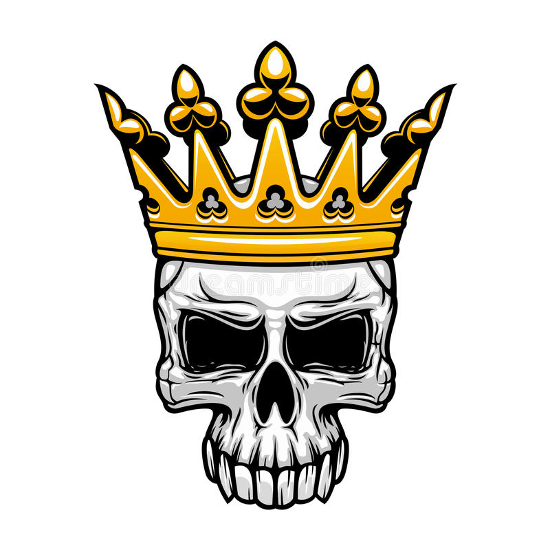 King skull in royal gold crown vector illustration