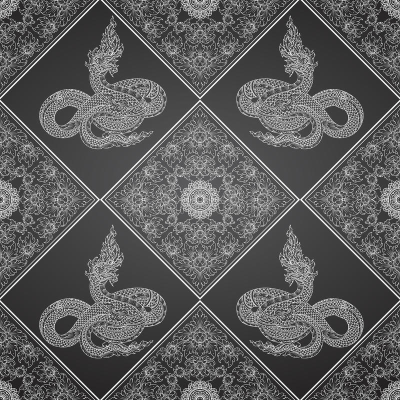 King snake abstract thai tradition. Pattern royalty free illustration