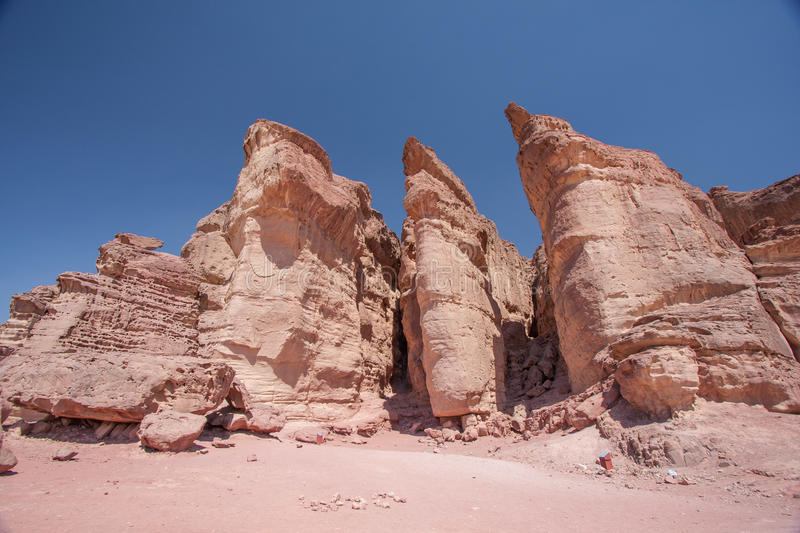 King Solomon Pillars in Timna Park, Israel stock images