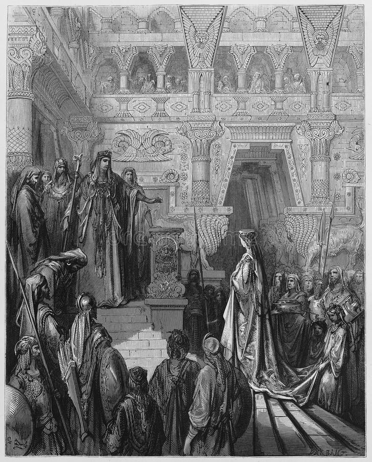 King Solomon received in the palace stock photography