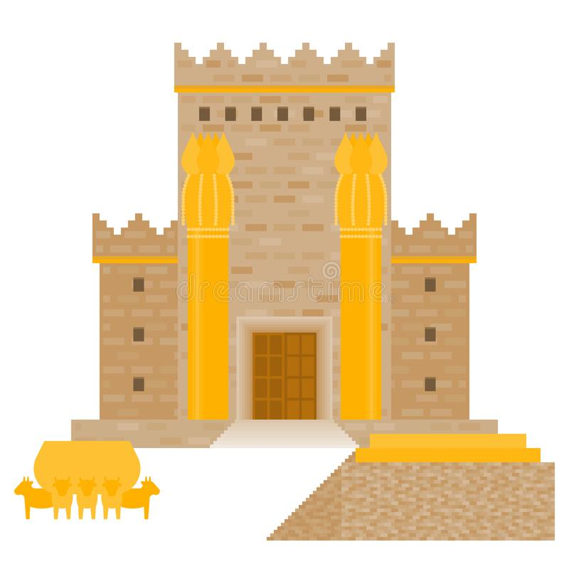 King Solomon`s temple Beit HaMikdash in hebrew name. With large basin call Brazen Sea and bronze altar, flat design vector illustration royalty free illustration