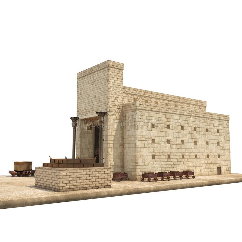King Solomon`s temple Beit HaMikdash in hebrew name with large basin call Brazen Sea and bronze altar on white. 3D vector illustration