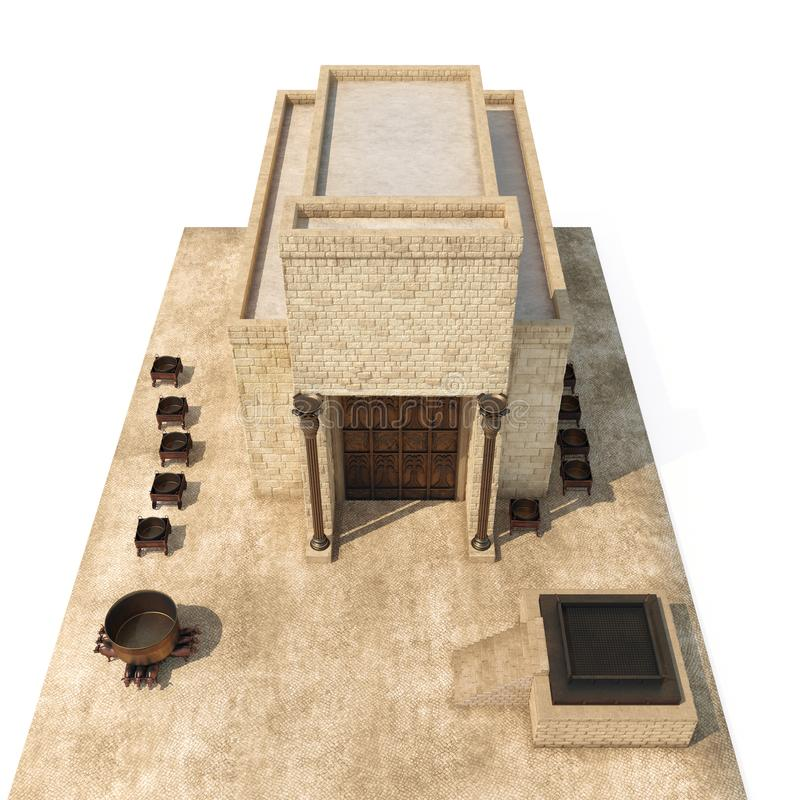 King Solomon`s temple Beit HaMikdash in hebrew name with large basin call Brazen Sea and bronze altar on white. 3D. King Solomon`s temple Beit HaMikdash in royalty free illustration