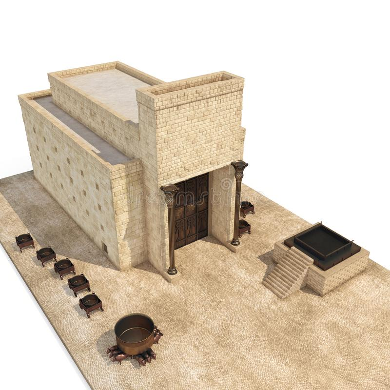 King Solomon`s temple Beit HaMikdash in hebrew name with large basin call Brazen Sea and bronze altar on white. 3D. King Solomon`s temple Beit HaMikdash in vector illustration