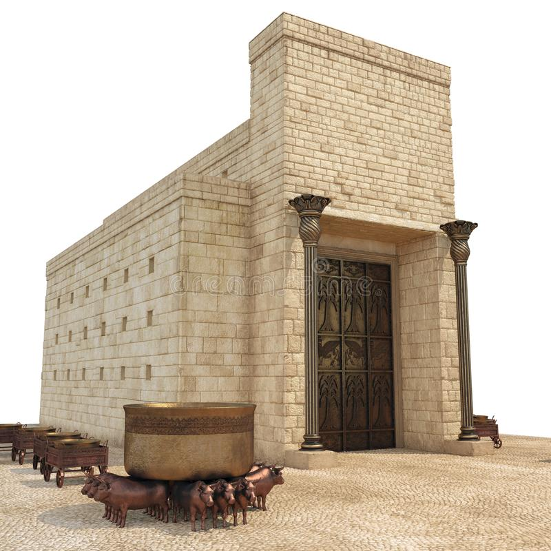 King Solomon`s temple with large basin call Brazen Sea and bronze altar on white. 3D illustration. King Solomon`s temple with large basin call Brazen Sea and royalty free illustration