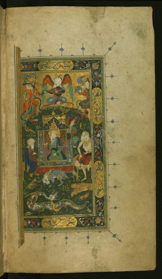 King Solomon (Sulaymān) enthroned; part of a double-page composition featuring also Queen Sheba (Bilqīs) fro stock images