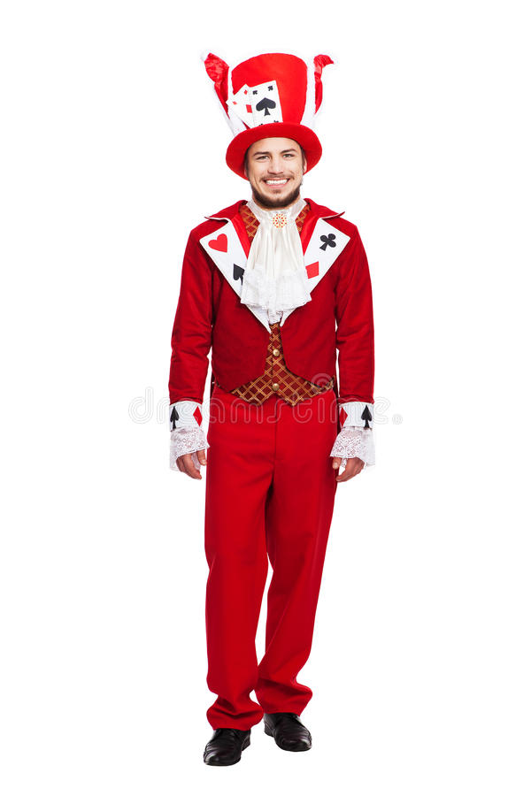 King of Spades.Yong man in black and red colors. King of hearts. Card Games costumes concept isolated on white stock photo