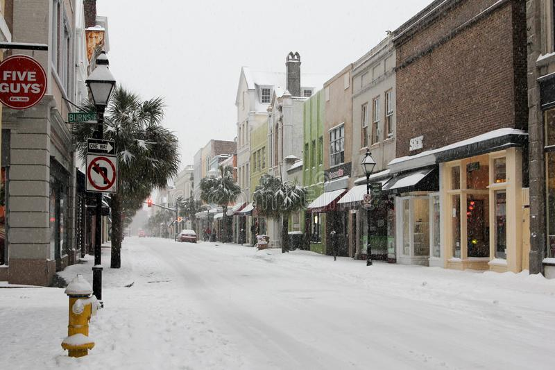 King Street, Charleston, South Carolina. King Street is covered with 6 inches of snow. Photo taken January 3, 2018 stock photography