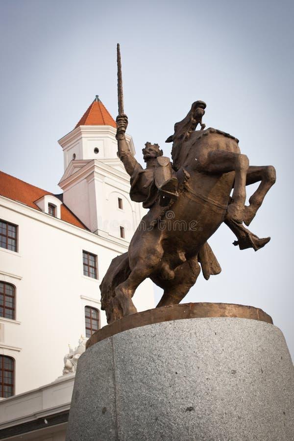 King Svatopluk Statue at Bratislava Castle stock image