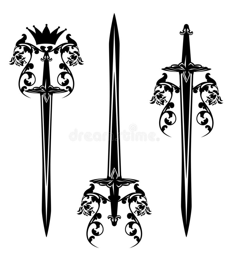 Free King Sword With Rose Flowers And Royal Crown Vector Design Set Stock Images - 180920614