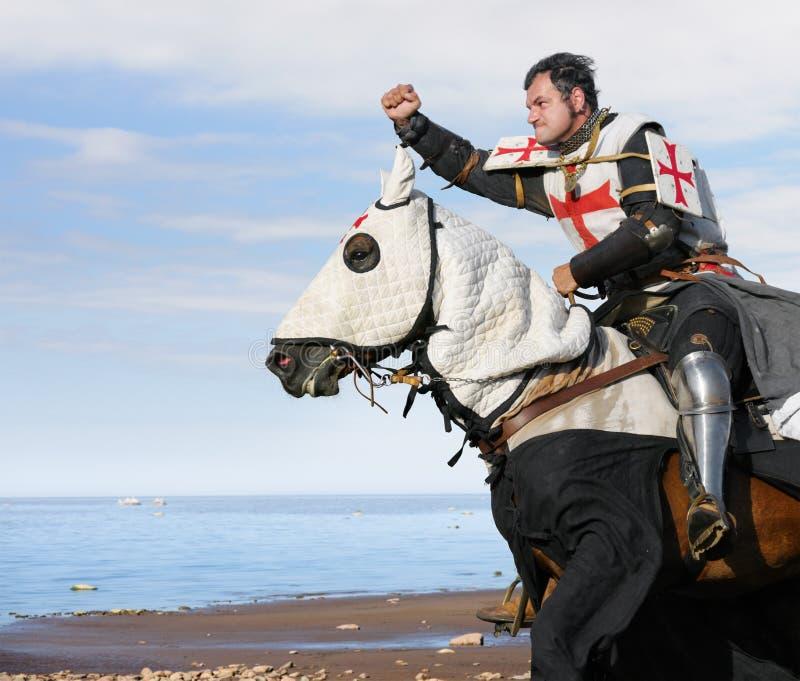 King Templar. Cavalier on horse royalty free stock image