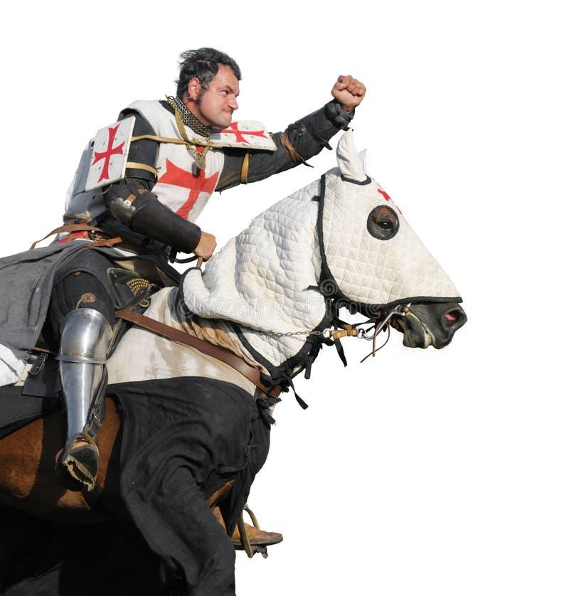 The King Templar. King Templar - cavalier on horse isolated on white stock image