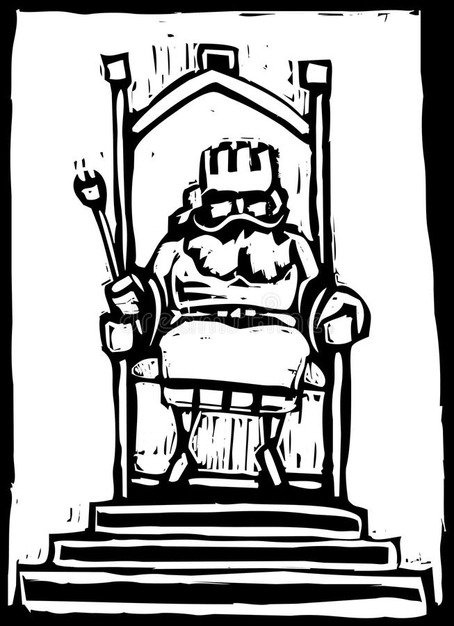 King on Throne. Woodcut of a small King on a throne stock illustration