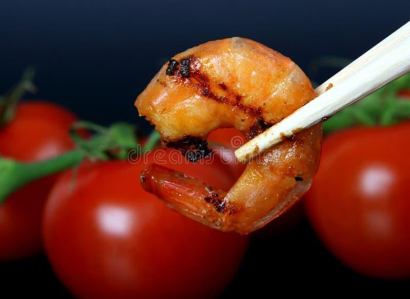 King Tiger Prawn Shrimp By Red Tomato Stock Photo