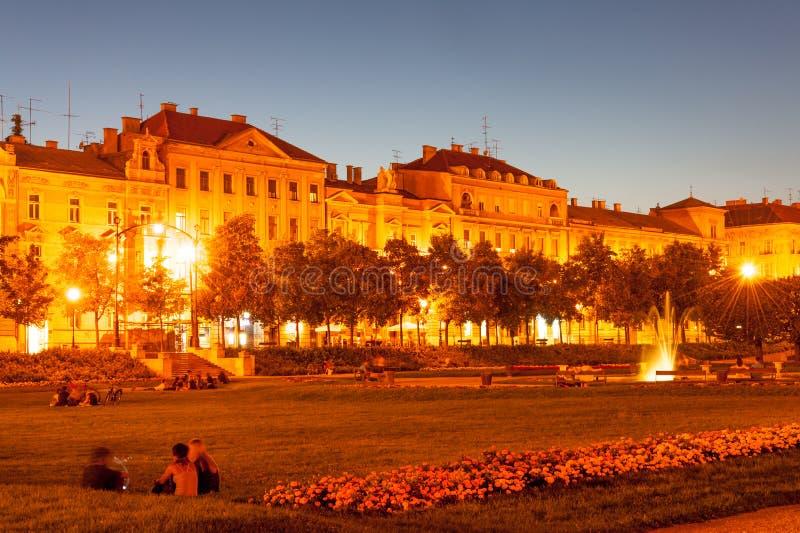 King Tomislav Square at summer night stock image