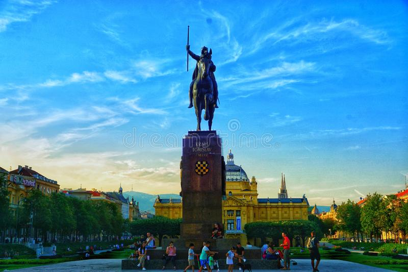King Tomislav square, Zagreb, Croatia royalty free stock images