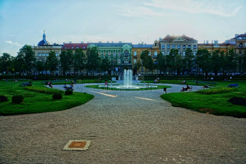 King Tomislav square, Zagreb Croatia stock photos