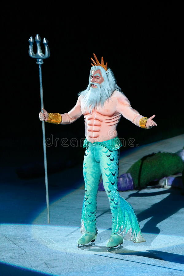 King Triton of Little Mermaid. Philippines - December 26, 2012. King Triton in Disney On Ice: Princesses & Heroes at Smart Araneta, Cubao Quezon City stock image