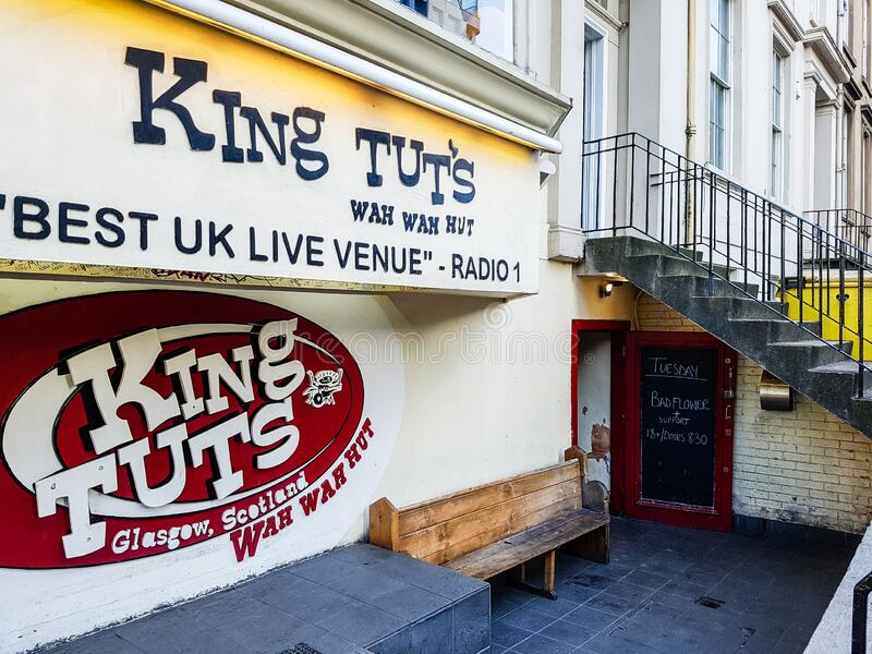 King Tut`s Wah Wah Hut. Mighty concert room for up-and-coming local Glasgow bands. Glasgow, Lanarkshire / Scotland UK – 11 18 2019: King Tut`s Wah Wah Hut royalty free stock photography