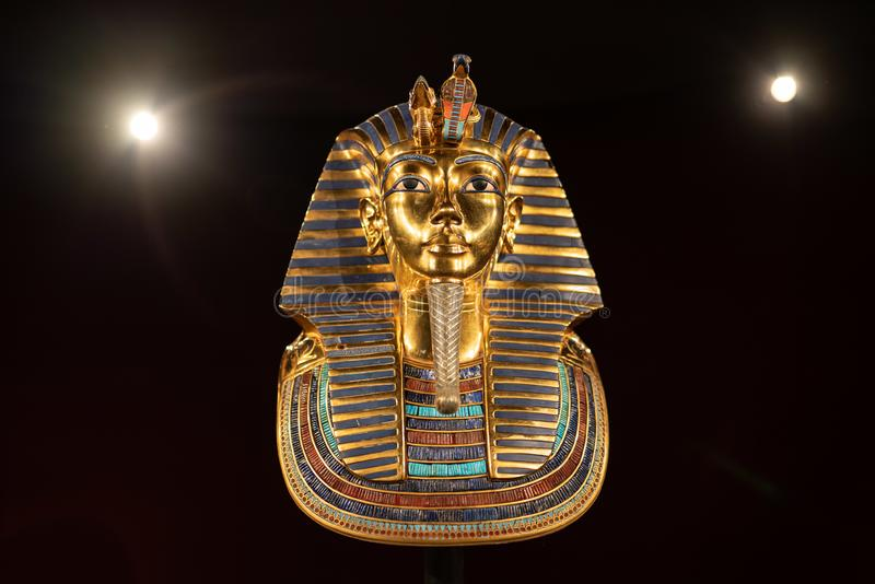 King Tutankhamun Egyptian exhibit on the display at the Oregon museum of science and industry stock photos