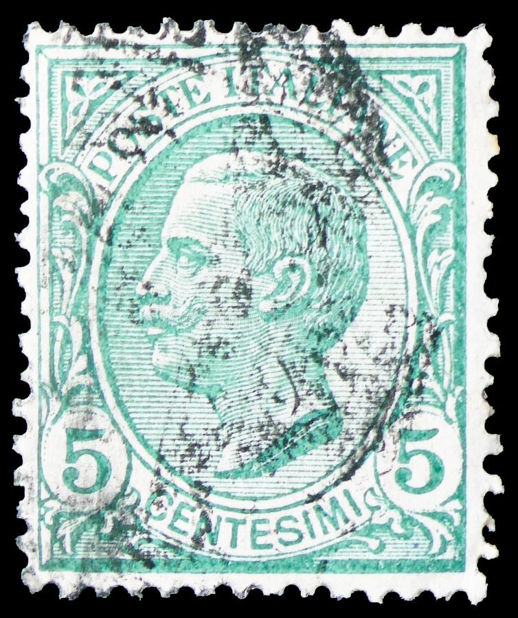 King Victor Emmanuel III, Type Leoni serie, circa 1906. MOSCOW, RUSSIA - MARCH 30, 2019: A stamp printed in Italy shows King Victor Emmanuel III, Type Leoni royalty free stock photos