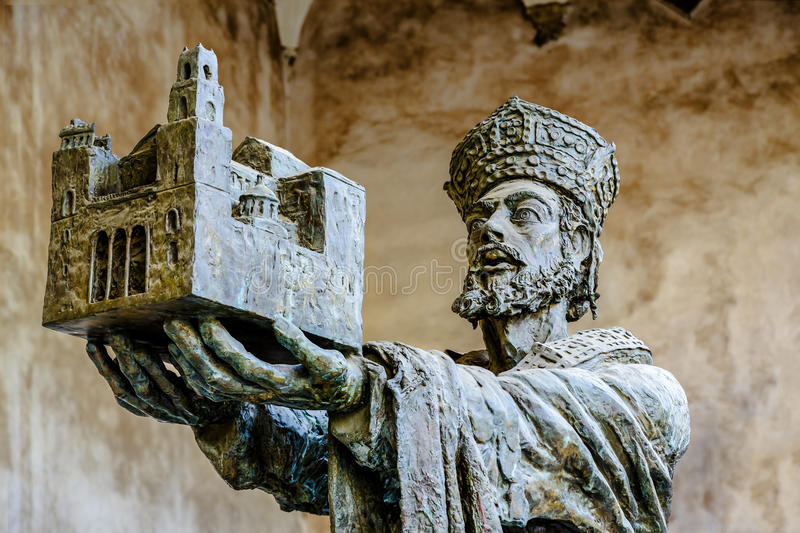 King Willam offering Monreale cathedral to Virgin Mary royalty free stock photography