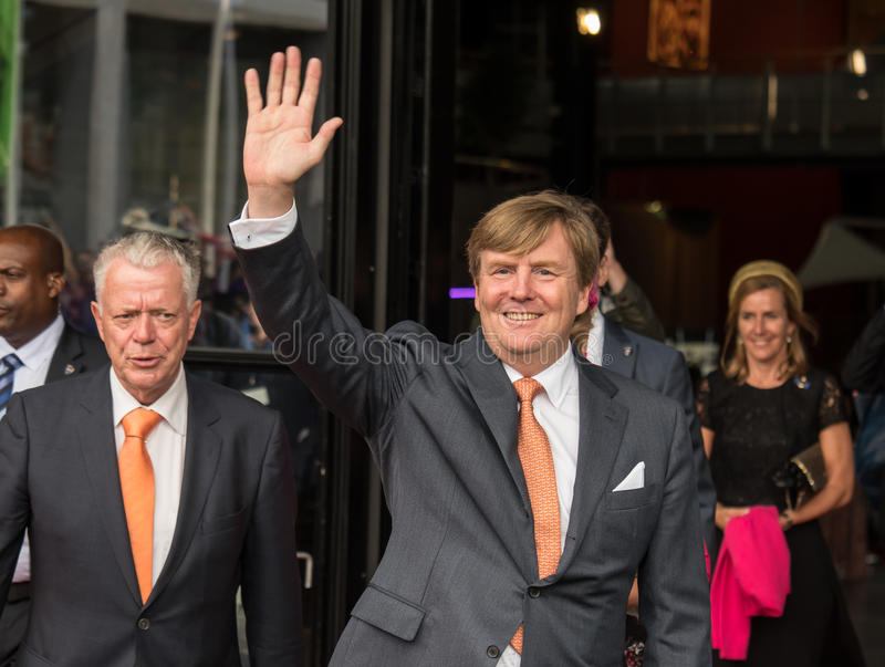King Willem-Alexander of the Netherlands. DRONTEN, NETHERLANDS - 29 JUNE 2017: King Willem-Alexander of the Netherlands waves to the crowd in front of De stock photo