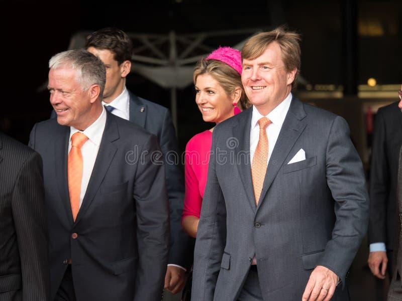King Willem-Alexander and Queen Maxima of the Netherlands. DRONTEN, NETHERLANDS - 29 JUNE 2017: King Willem-Alexander en Queen Maxima of the Netherlands leave De stock photos