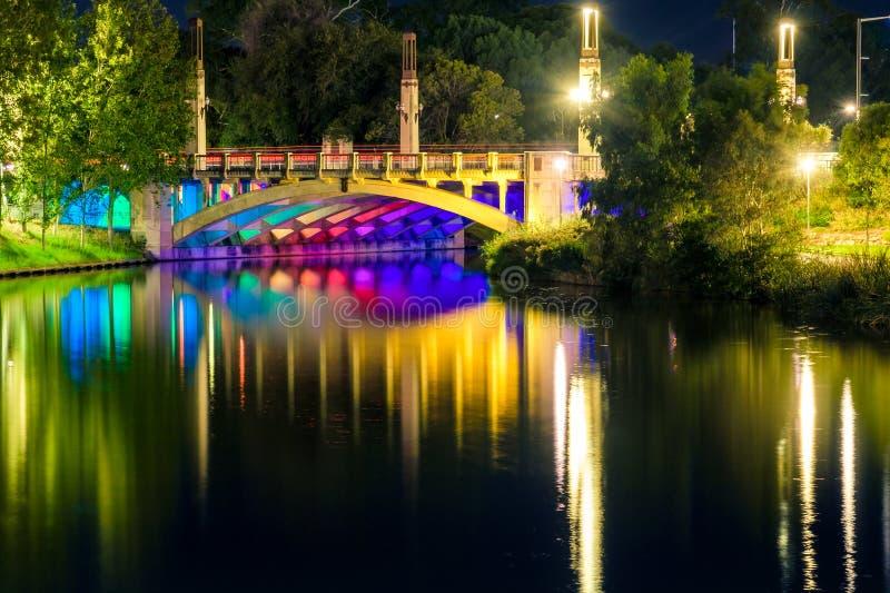 King William bridge in Adelaide city. King William bridge illumination in Adelaide city at night stock image