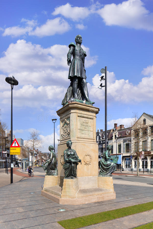 King William II statue at Hill Square Tilburg, Netherlands. TILBURG-MARCH 22, 2017. King William II statue at Tilburg Hill Square. From October 7, 1840 until his stock images