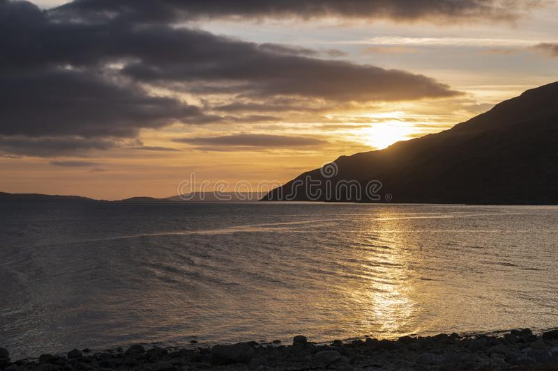 Kingairloch Sunset. New Years Day sunset over Loch Linnhe in Kingairloch, Lochaber, Scotland royalty free stock images