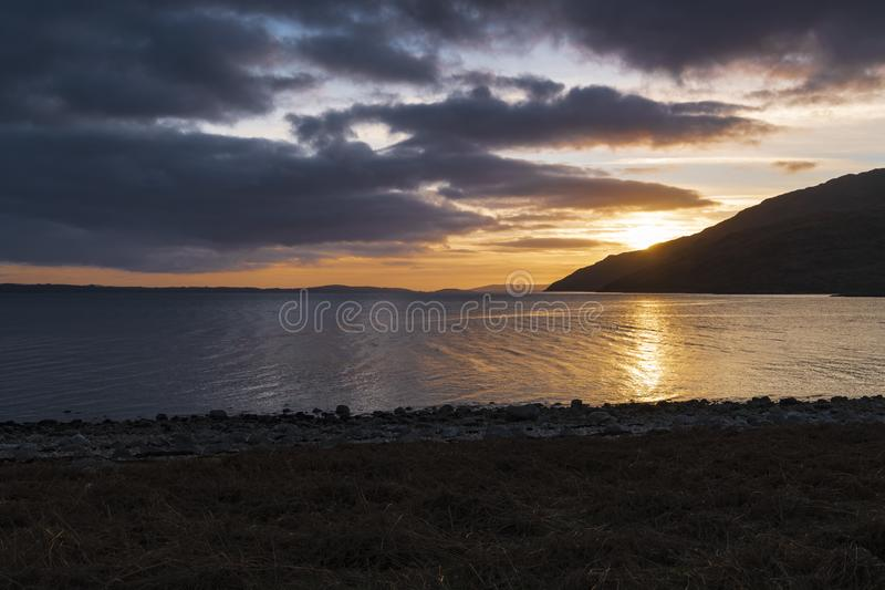Kingairloch Sunset. New Years Day sunset over Loch Linnhe in Kingairloch, Lochaber, Scotland royalty free stock image