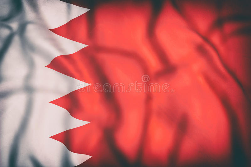 Kingdom of Bahrain flag. 3d rendering of an old Kingdom of Bahrain flag waving royalty free illustration