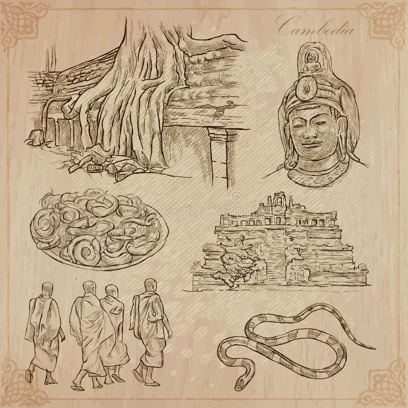 Kingdom of Cambodia - Hand drawn vector pack royalty free illustration