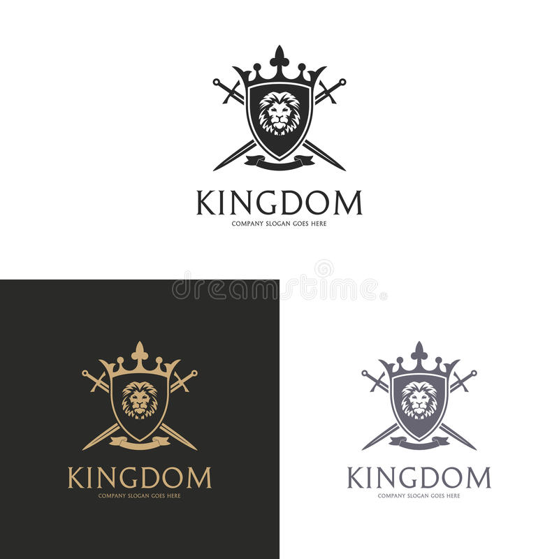 Kingdom. Lion shield logo stock illustration