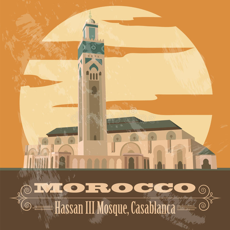 Kingdom of Morocco landmarks. Hassan III Mosque in Casablanca. Retro styled image. Vector illustration royalty free illustration