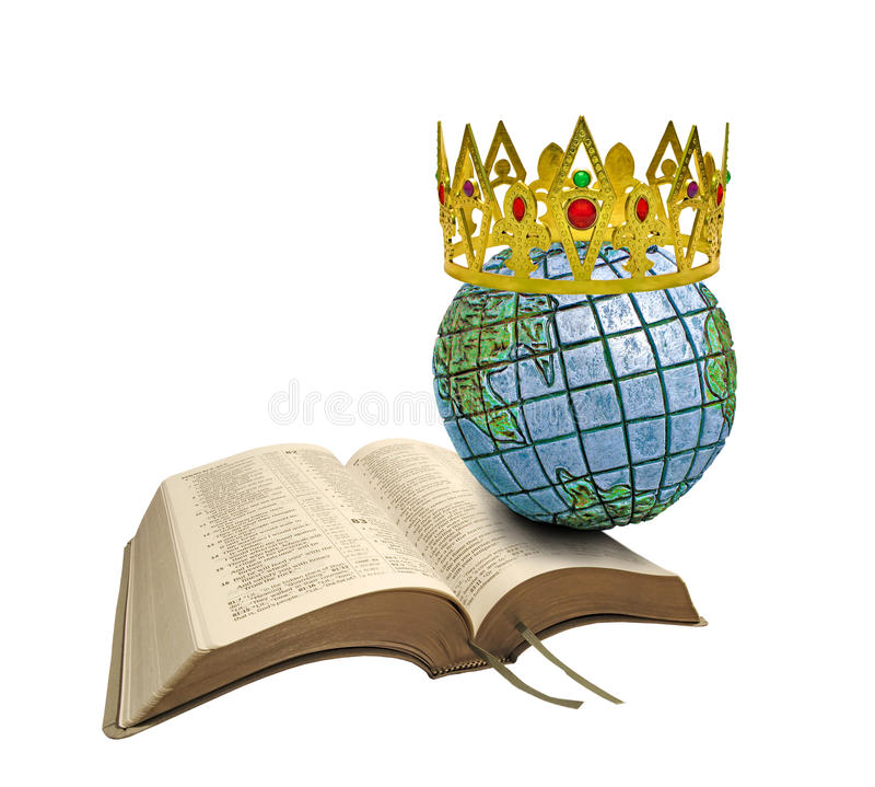 Kingdom of our lord. Concept photo of golden crown on top of world which is resting on open bible...depicting bible prophecy at Revelation 11:15 'The kingdom of royalty free stock image