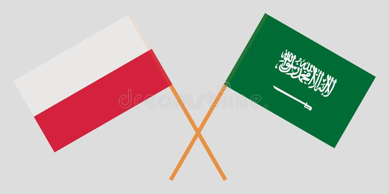 Kingdom of Saudi Arabia and Poland. The KSA and Polish flags. Official proportion. Correct colors. Vector royalty free illustration