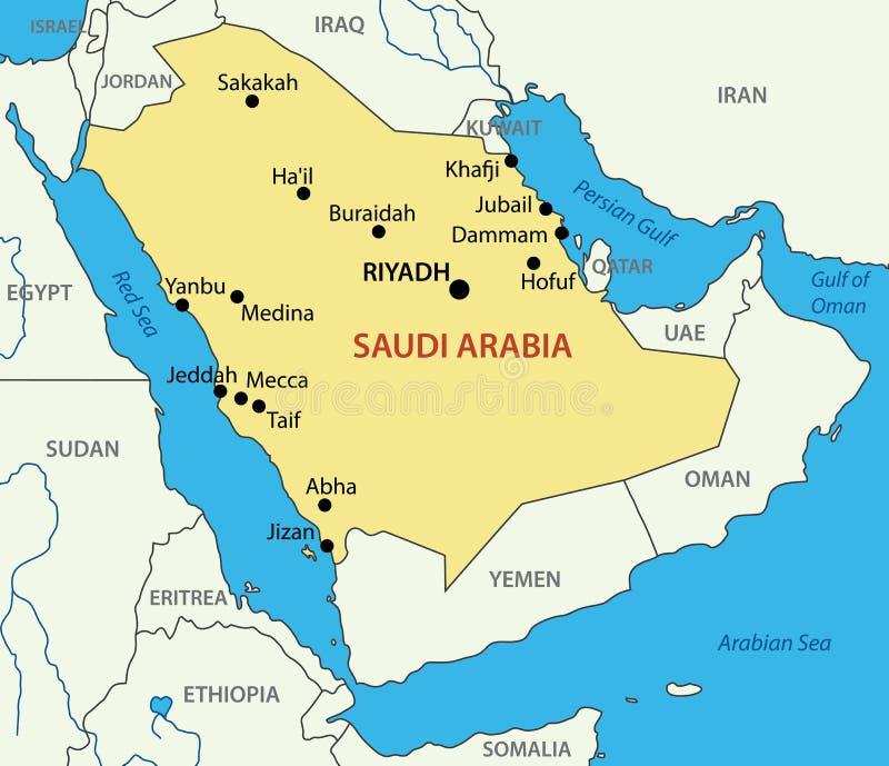 Kingdom Of Saudi Arabia Vector Map Stock Vector Illustration of