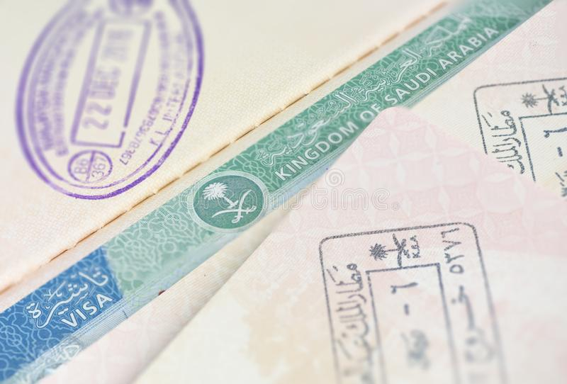 Kingdom of Saudi Arabia visa stamps and approval. Saudi Arabia granted access to foreign tourist from 49 countries to visit Saudi. Arabia royalty free stock photo