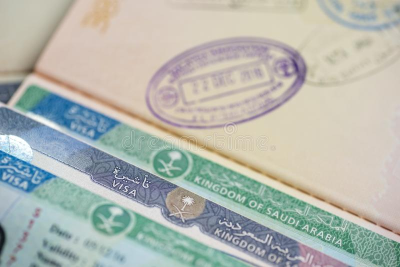 Kingdom of Saudi Arabia visa stamps and approval. Saudi Arabia granted access to foreign tourist from 49 countries to visit Saudi. Arabia stock image